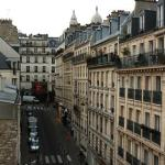 view from my hotel window with Sacre Coeur in the background