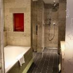 The large, luxurious bathroom at the Hague Hilton