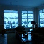 Lobby with snow blow outside