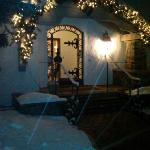 Snowy Christmas Entrance to Christiania Lodge in Vail