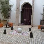 the patio and a bird, baraka & karam Marrakech