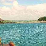 Approaching the island resort.