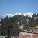 View of the Himalayas from the hotel.