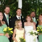 Wedding party photos on side porch