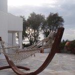 Poolside hammock, near path to beach