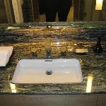 with camera flash - the vanity in multi-colored marble
