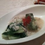 Spinach tofu with scallops and conpoy