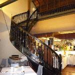 Beautiful spiral staircase in the restaurant