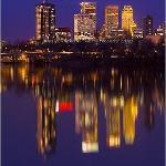 Tulsa skyline from river park bridge