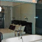 TUB - Beautiful, but the privacy curtain was on the OUTSIDE of the glass!  Think about that.....