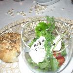 The salad with buffalo mozzarella, cherry tomatoes, mint, and fennel