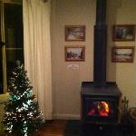the cosy living room with lighted Xmas tree n fire place.
