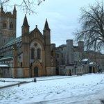 Buckfast Abbey in winter