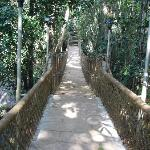 Rope bridge on the stream in the middle of the resort