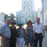 In front of Smolny cathedral in St.Petersburg with cruise passengers, summer 2010