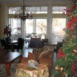 The Cedars' living room, decorated for Christmas