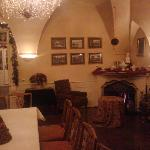 The warm dining area