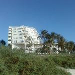 side view of hotel from beach