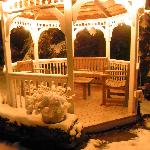 first snow, gazebo at night