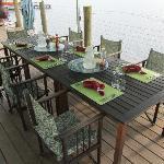 Brekfast table on back deck.
