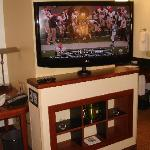 Flat screen TV on swivel at center of room.