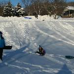 Sledding on B&B property