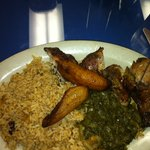 jerk chicken, rice & peas, callaloo, fried plantains