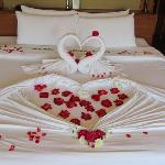 The welcome bed for the Honeymoon couple :)