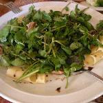Ensalada de hojas verdes, hongos y queso