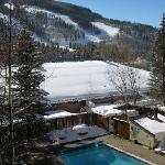 Outdoor pool with mountain view