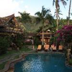 Notre bungalow autour de la piscine avce la montage enarrière fond