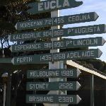 Sign with distances to and from Eucla