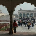 Beautiful gardens and buildings in Agra Fort