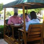 Swing tables outside Joe's