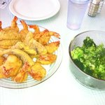 fresh fries fish & shrimp with steamed broccoli