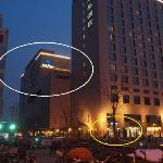 The Hotel is behind the 'C' exit from the Subway (exit circled in yellow)