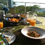 Breakfast overlooking Waihi Beach