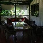 The verandah with the daybed/sofa to the rear