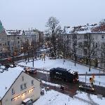 View of Kolpingplatz and neighborhood from 4th floor room overlooking coblestone Alt-Reinickendo