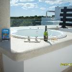 juccuzi on penthouse patio overlooking Mayan Riviera