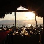 Sunset having dinner