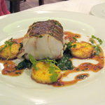 little hake,spinach and polenta