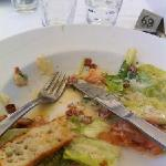 prawn salmon Caesar with hair top edge