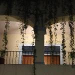 Flamboyant hotel courtyard