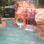 Great swimming pool slide and cave sap