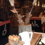Rump steak of reindeer on a skewer served with Salla's vegetables, sautéed horn chanterelles and