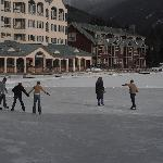 Ice skating on the lake in back of hotel