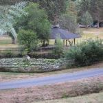 View of duck pond with picnic gazebo behind