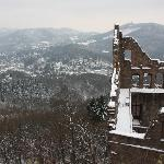 edge of the castle with snowy Baden Baden in the background