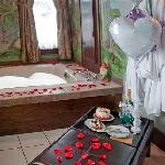 Enjoy romance and relaxation in your own private hot tub in the Black Forest Suite.